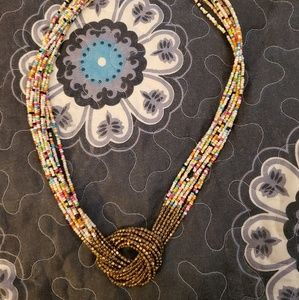 Multicolored knot necklace